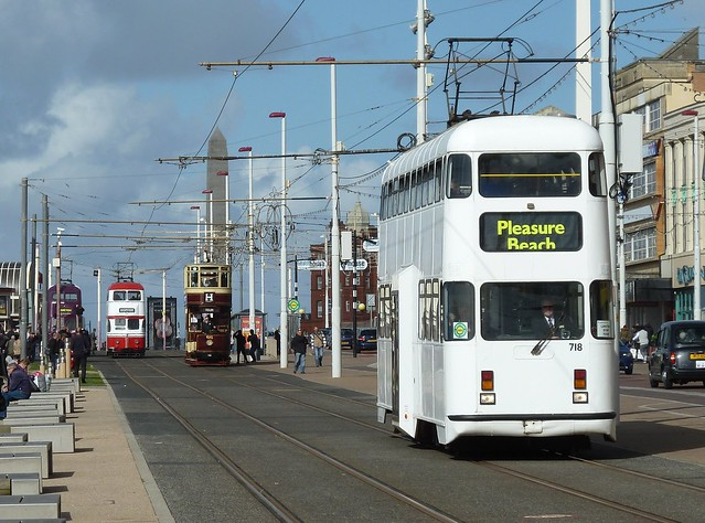 20160925 Blackpool 4 double-deck trams