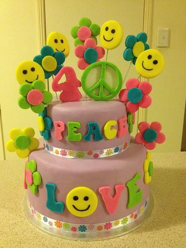 Peace & Hippie Themed Birthday Cake | by PortersPartyCakes