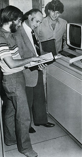 Eric Myers '80, Professor Donald McIntyre and Fowler Brown '82 with the new IBM 4331 in 1980