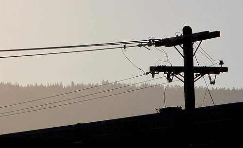 trees silhouette ridge hydro wires powerline utilitypole