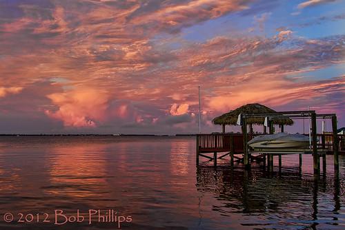 clouds sunrise pier yachtclub tikihut capecoral caloosahatcheeriver