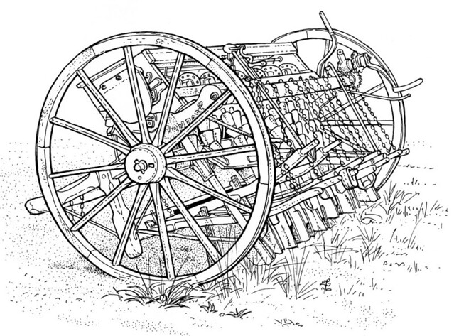 Seed drill #drawing #illustration