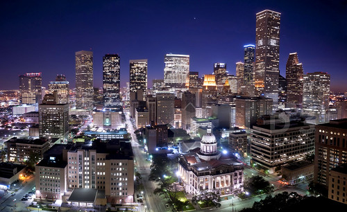 county blue urban panorama skyline night buildings lights long exposure cityscape skyscrapers pano houston panoramic illuminated hour highrise courthouse harris 24mm metropolitan 14g d700