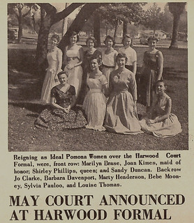 Photo of the May Court, announced at the Harwood Formal, in 1957
