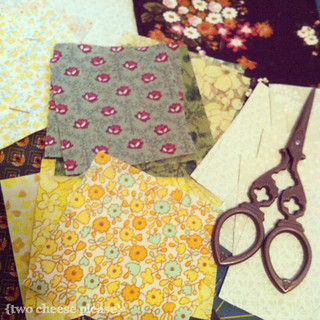 Fabric auditioning for September's Far Flung Bee blocks | by Two Cheese Please