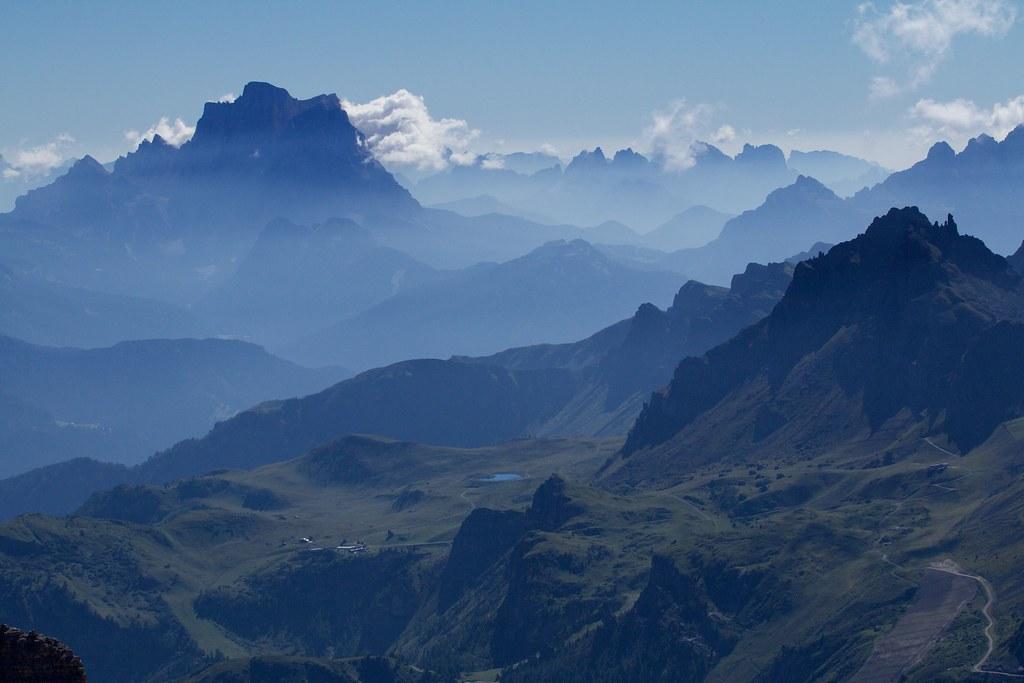 Panorama Dal Sass Pordoi Il Monte Pelmo Gruppo Del Sel
