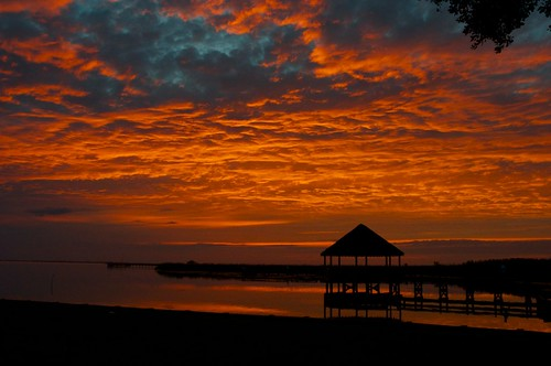 sunset red summer sky cloud beach water clouds outdoor dusk northcarolina silouette gazebo shore serene outer outerbanks banks obx