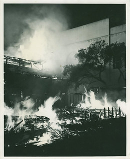 Fire destroys Renwick Gymnasium (behind Bridges Auditorium) in 1952