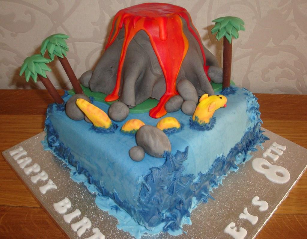Strange Volcano Birthday Cake A Cherry On Top Scotland Flickr Personalised Birthday Cards Veneteletsinfo