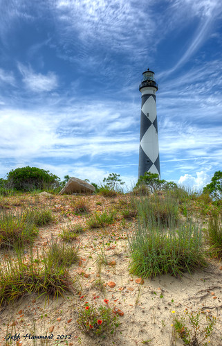ocean lighthouse beach sand dunes northcarolina atlantic outerbanks hdr capelookout