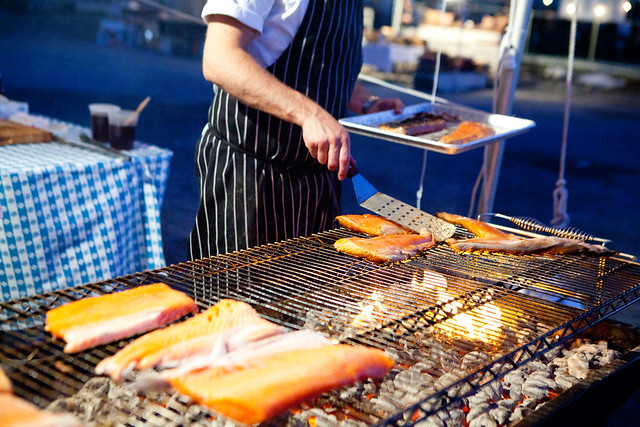 Grilling up the salmon bellies at The Young Turks/Mile End Deli tent