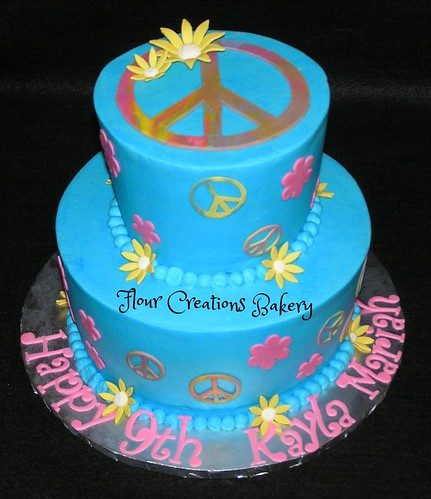 Peace Sign Birthday Cake | by Flour Creations Bakery