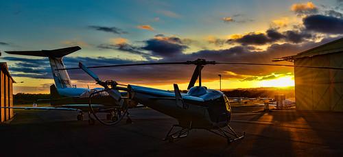 sunset airport camden jet helecopter