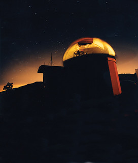 Time exposure of the Table Mountain observatory, taken while rotating the dome to reveal the interior