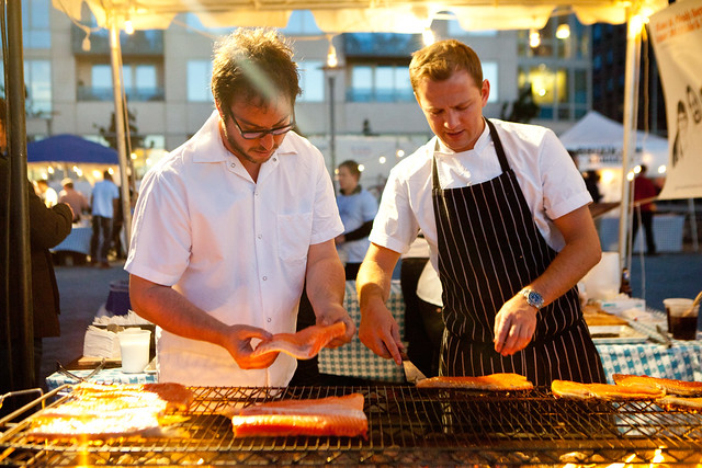 Chefs Noah Bernamoff (Mile End Delicatessen, NYC; left) and James Lowe (one of The Young Turks, London, United Kingdom)