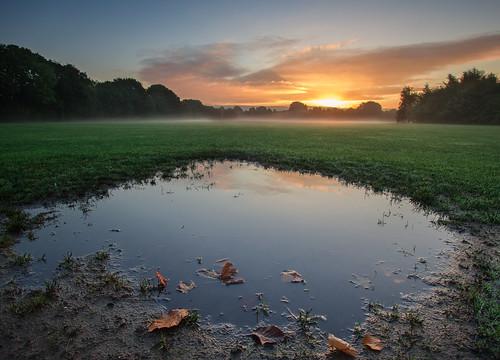 park uk autumn england sky mist nature water sunrise landscape manchester
