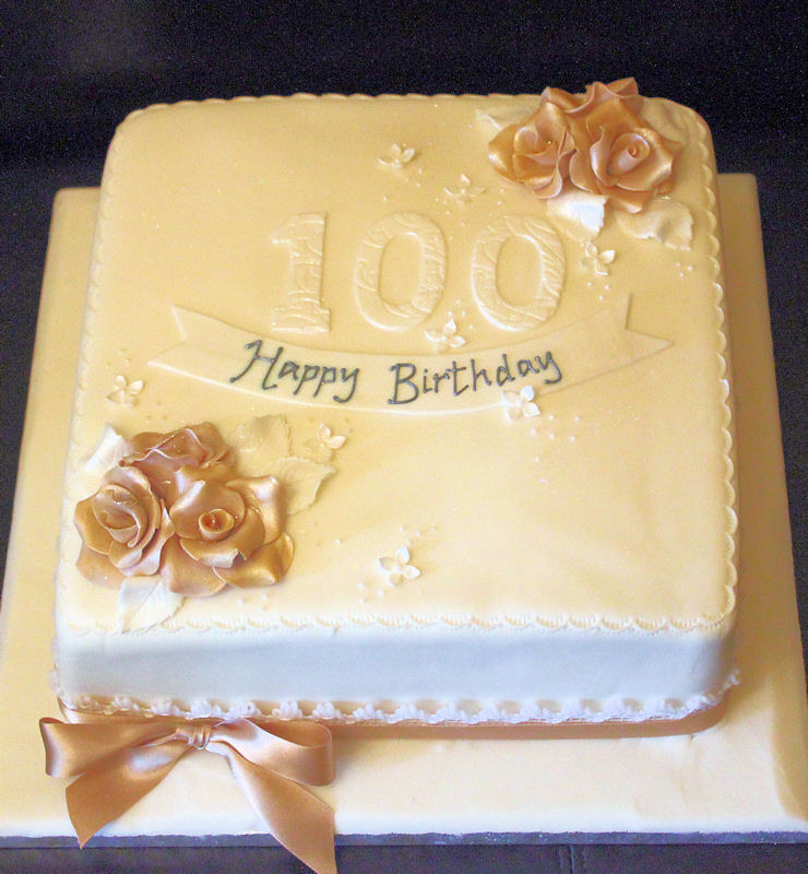 Strange 100Th Birthday Cake Gold Roses Traditional 100Th Birthday Flickr Birthday Cards Printable Riciscafe Filternl