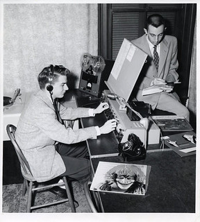 Two students in the KSPC studio