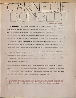 Special, hand headlined notice from The Student Life after the bombing in Carnegie in 1969