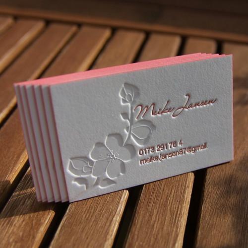 Letterpress Visitenkarte Letterpress Visitenkarte Mit Farb