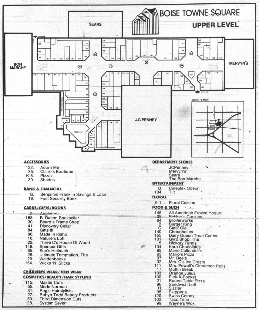 Boise Towne Square Mall Map Boise Towne Square   1988 Mall Directory (part 2) | This is … | Flickr