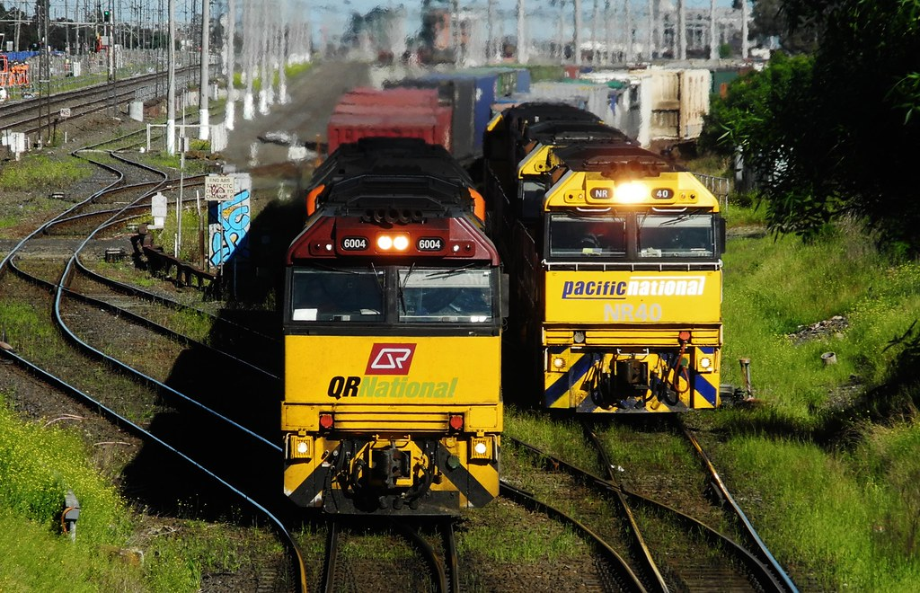 Two Freight Trains  at West Footscray Victoria. Australia by Rodney S300