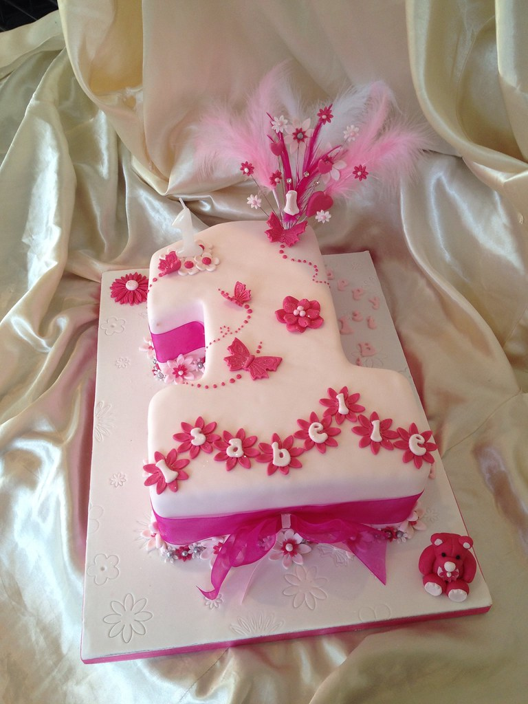 Superb Baby Girls 1St Birthday Cake Karen Kavanagh Flickr Personalised Birthday Cards Veneteletsinfo
