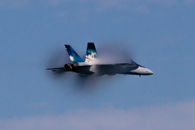 Fleet Week 2012: Canadian F18 at high speed with vapor cone