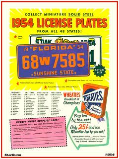 GM Wheaties - 1954 US License Plates