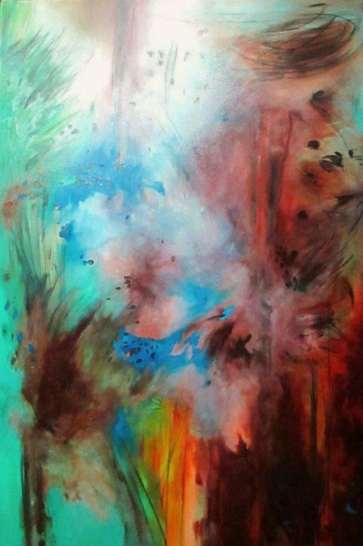 L'acqua brucia, il fuoco spegne - 135x90 cm. Oil on canvas 2016