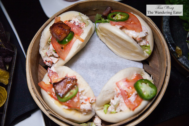Lobster BLT steamed buns, Old Bay aioli, candied bacon