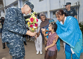 Capt. Wallace G. Lovley is greeted in Bangladesh.