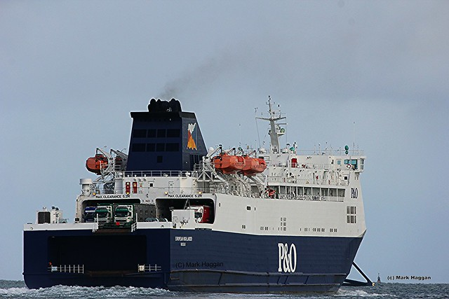 A ferry sails from the Port of Larne in Northern Ireland