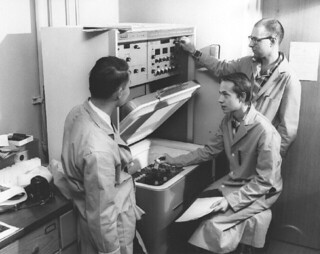 Students working with the Beckman scintillation counter in the biochemistry laboratory of Seaver North in 1966