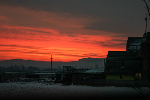 sunrise romania transylvania erdély red snow white beautifull colour color colours colors winter ice freeze cold