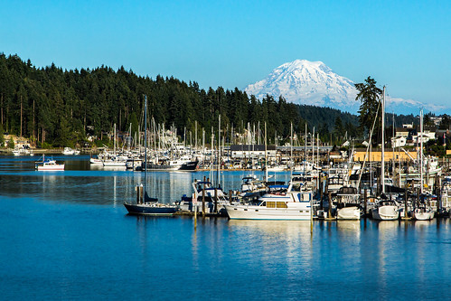 gigharbor mtrainier washington pugetsound water harbor seascape boats scenery ocean 53116