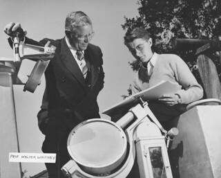 Hulbert Burroughs photo of Astronomy Professor Walter Whitney with a student in 1950. Whitney, who to Pomona in 1929, was a member of the faculty until his retirement in 1954.
