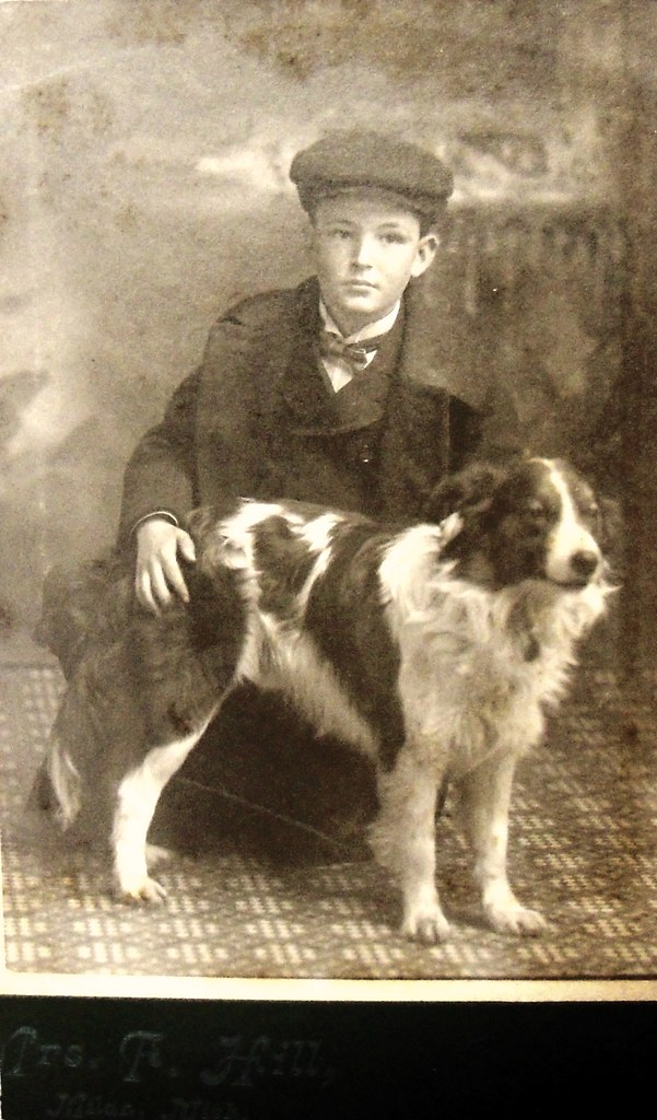 Boy with dog, Milan, Michigan  Cabinet photograph by