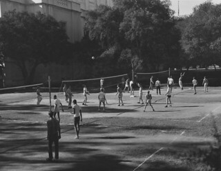 Outdoor volleyball behind Bridges Auditorium in 1957