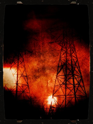 light fog power towers electricity nite iphone iphoneography photoforge