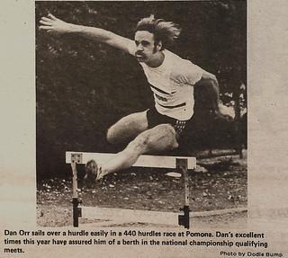 """""""The Student Life"""" photo of Dan Orr '78 running in 440-meter hurdles"""