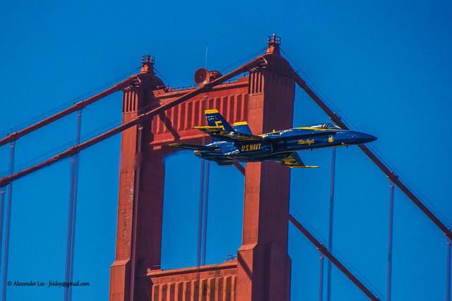 Fleet Week - San Francisco - F/A 18 - Hornet Blue Angels Golden Gate Bridge Flyover Pass 2012