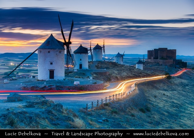 Spain - Castilla-La Mancha - Toledo - Consuegra Windmills at Sunset