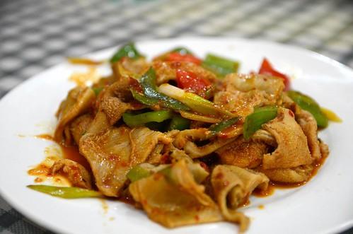 Stir-fried lamb tripe AUD15 - Silk Road Uyghur Restaurant   by avlxyz