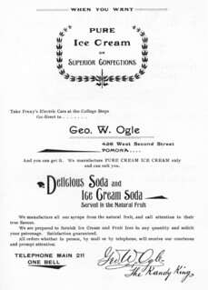 """Ad from the 1897 Metate featuring a Pomona ice cream shop accessible by """"Prexy's Electric Cars"""""""
