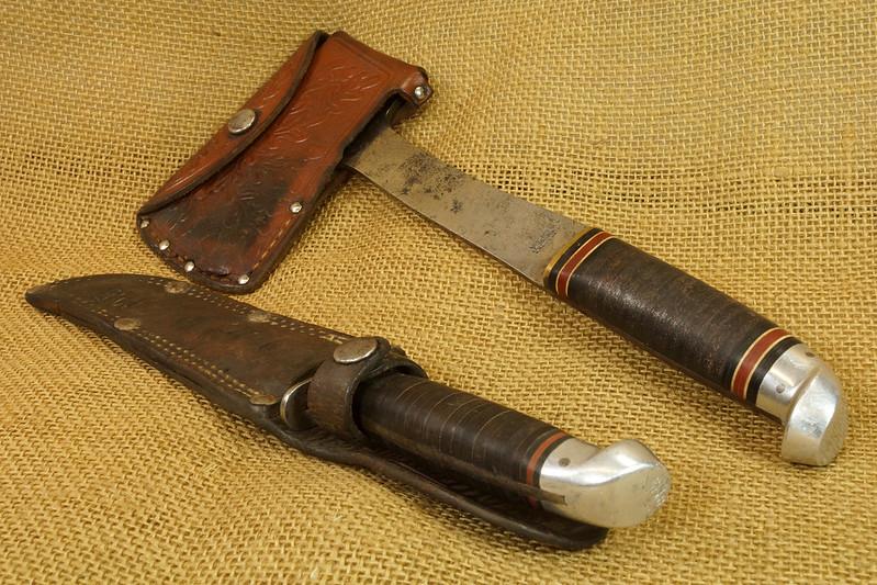 RD14019 Vintage Western Knife & Hatchet Combo Boulder, Colo. DSC05379