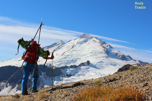 Sun, 2012-10-07 23:40 - The trail towards Sholes Glacier... Park Headwall Mt Baker.... photo Andy Traslin.... skier Mike Traslin.
