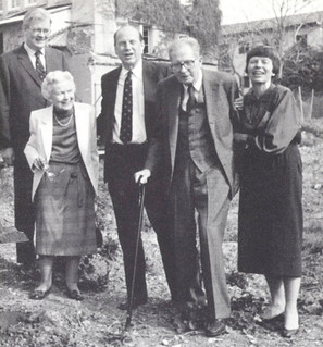 President Emeritus E. Wilson Lyon and his wife Carolyn were joined by their son John and daughter Elizabeth Lyon Webb for the groundbreaking ceremony for E. Wilson Lyon Court on January 20, 1989