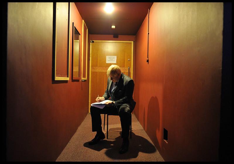 Boris Johnson preparing his speech backstage