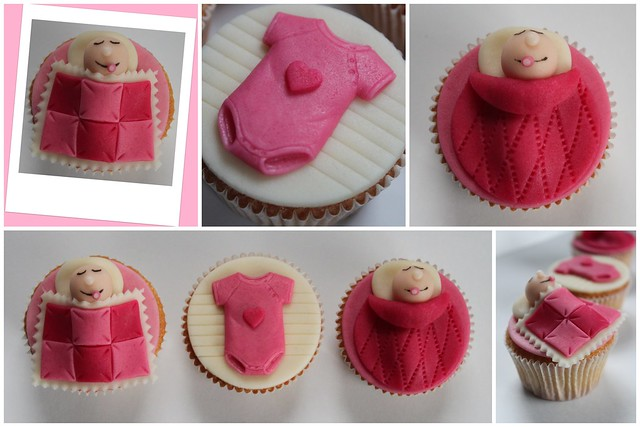 Baby girl cupcake collage